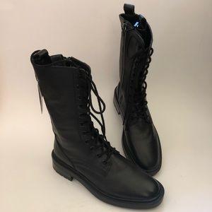 "Zara Black Leather Combat Boots Side Zip 9"" 37 New"